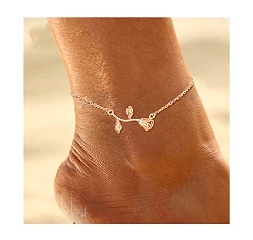 Mocya Minimalist Rose Anklet Gold Tone Flower Anklet Woman Anklet Jewelry Barefoot Chain Disney Gold Tone Bracelet