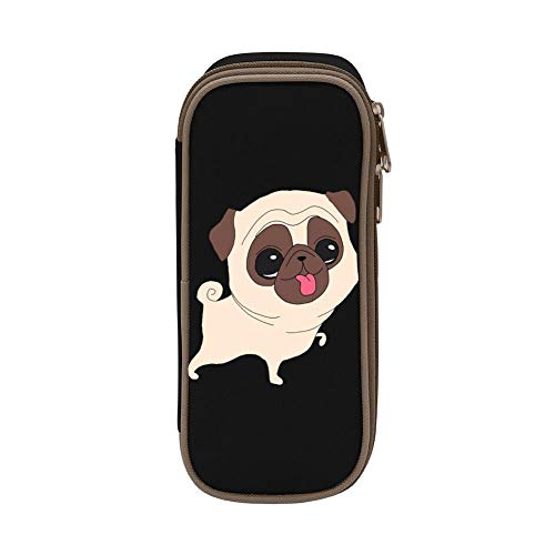 Little Pug Dog Pen Bag Canvas Pencil Case GCASST Portable Pouch for School Home Cosmetic Office with Double Zippers
