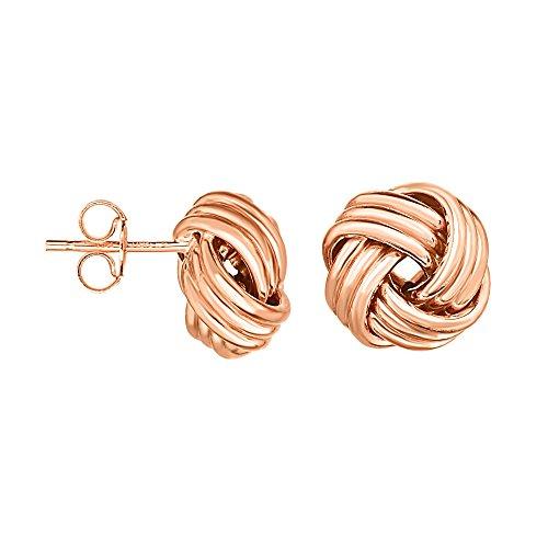 Aleksa Ladies 14K Gold Rose Finish Round Love Knot Earrings with Push Back (Platinum Love Knot Earrings)