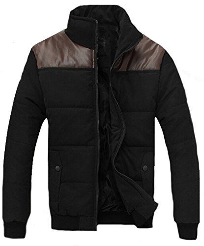 Mens Coat Stitching Leather xxxl Casual Zipper black Down EKU Pocket Jacket d6w8Bdq