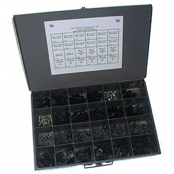 NEF Metric Body Bolt Assortment, 232 Pieces with 24 Hole Metal Storage Bin by Northeast Fasteners
