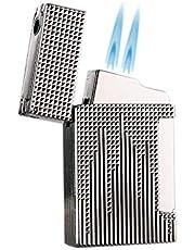 PROMISE by Honest stormaansteker gas aansteker sigaren aansteker dubbele 2 Jet vlam gas navulbaar met sigarenboor (zilver)
