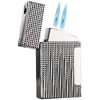 PROMISE by Honest Stormaansteker, gasaansteker, dubbele vlam, gas, navulbaar met sigarenboor (zilver)