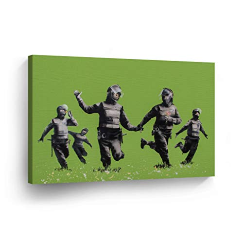 Smile Art Design Banksy Canvas Print Riot Police in The Field Artwork Banksy Wall Art Modern Art Wall Decor Home Decor Stretched Ready to Hang-%100 Handmade in The USA- 8x12 (Pack Rat Artwork)