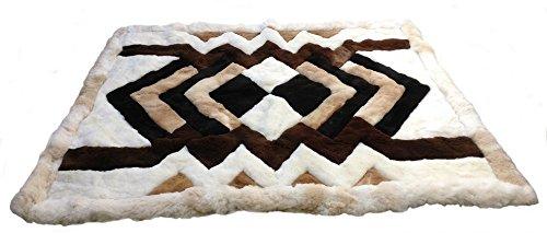Alpakaandmore Original Peruvian Alpaca Fur Rug Tornillo Designs Natural Brown (90 x 60 cm/ (Alpaca Fur Rug)