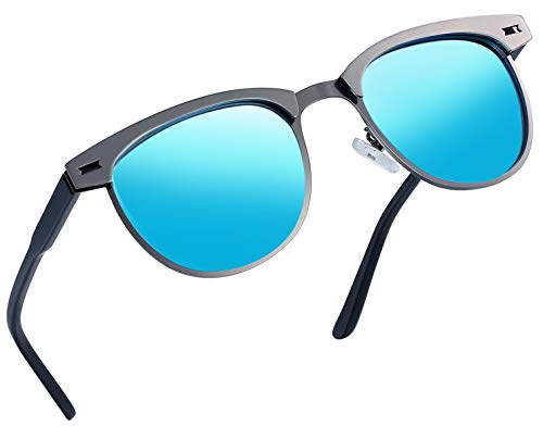 Joopin Semi Rimless Polarized Sunglasses Women Men Retro Brand Sun Glasses (Metal Frame Blue Lens, as the pictures)