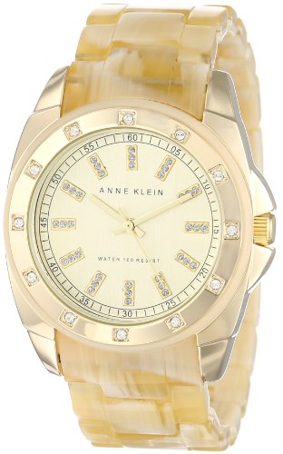 - Anne Klein Women's 10/9988CHHN Swarovski Crystal-Accented Horn Resin Bracelet Watch