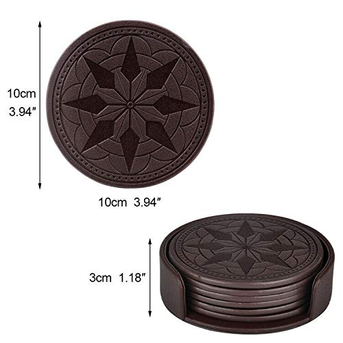 Large Product Image of 365park Coasters,PU Leather Coasters for Drinks Set of 6 with Holder-Protect Your Furniture from Stains,Coffee