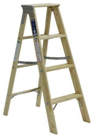 (Michigan Ladder 1311-04 250 Pound Duty Rating Type 1 Stocky Wood Stepladder, 4-Foot)