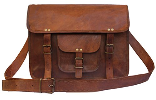 United Leather Bags 15'' Inches Classic Adult Unisex Cross Shoulder Genuine Leather Messenger Laptop Briefcase Bag Satchel Brown by United Leather Bags (Image #4)