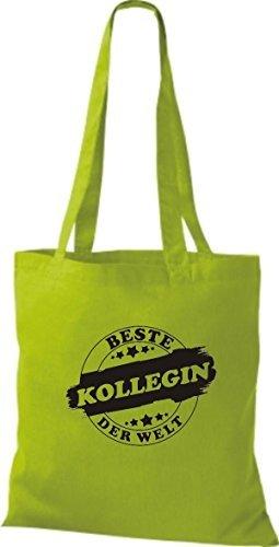 ShirtInStyle Bolso de tela Bolsa de algodón Mejor KOLLEGIN der Welt verde lima