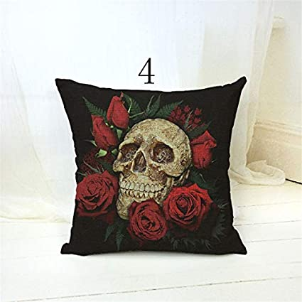 Amazon.com: Lovely Suger Skull Cushion Cover 4343cm Linen ...