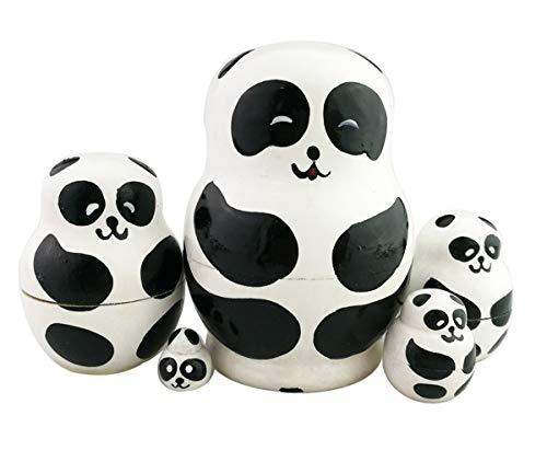 Winterworm Set of 5 Cutie Lovely Mini Panda Bear Baby Nesting Dolls Matryoshka Anmal Russian Doll Popular Handmade Kids Girl Gifts Toy