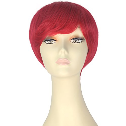 Decent Women Girl Short Straight Bob Hair Party Daily Cosplay Lolita Wig Halloween (Red) ()