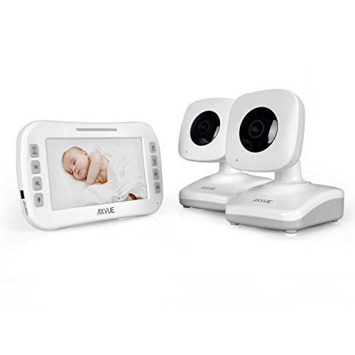 """AXVUE E612 Video Baby Monitor with 4.3"""" LCD Screen and Two Cameras"""