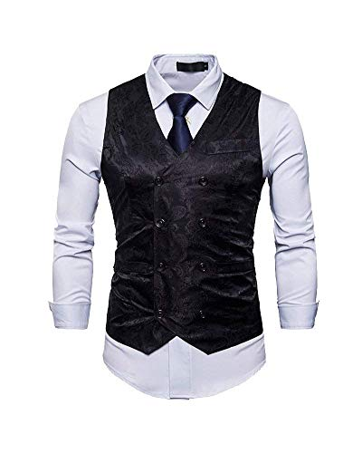 Groom The neck Fit Costume De Business Schwarz Hommes Slim Veste Pour V Chic Xq4AX0P
