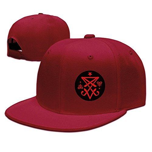 Casual Men Women Christian Lucifer Satanic Logo Flat Ajustable Snapback Cap Red (T-shirts Design Christian)