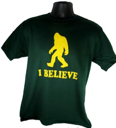 I Believe Sasquatch Bigfoot Yeti Funny Adult Green T-Shirt Shirt Tee (X-Large)
