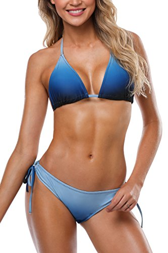 - V FOR CITY Ladies Swimsuits Two Piece Halter Triangle Bikini Set Ombre Blue L