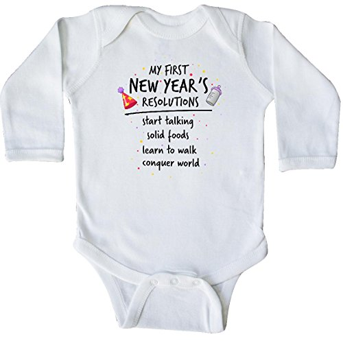 inktastic My First New Year's Resolutions Long Sleeve Creeper 12 Months White from inktastic