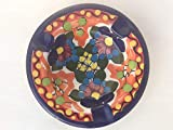 Talavera Ceramic Ashtray 4'' Modern Art Design Authentic Puebla Mexico Pottery Hand Painted Design Vivid Colorful Art Decor Signed [Orange Background]
