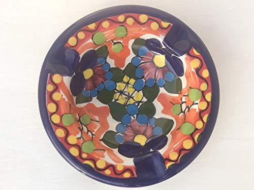 Background Signed - Talavera Ceramic Ashtray 4'' Modern Art Design Authentic Puebla Mexico Pottery Hand Painted Design Vivid Colorful Art Decor Signed [Orange Background]