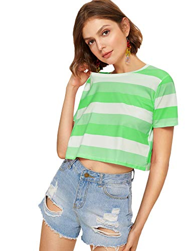 SweatyRocks Women's Short Sleeve Striped Crop Top Casual T-Shirt Green White X-Large