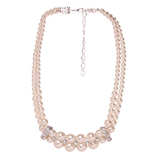 [Veenajo Women's Elegant 2 Rows Simulated Pearl Strands Crystal Choker Necklace -beige] (90s Era Costumes)