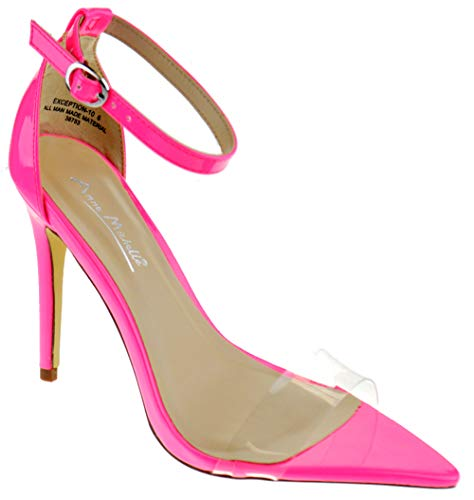 Anne Michelle Exception 10 Womens Single Band Open Toe Platform Heeled Dress Sandals Neon Pink 7.5