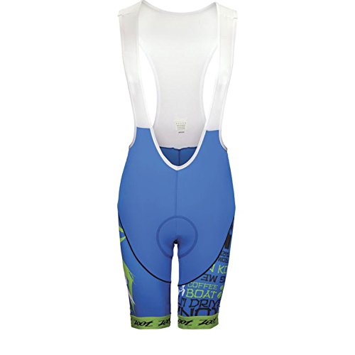 ZOOT Men's Ultra Cycle Ali'i 10-Inch Bib, Zoot/Blue/Green/Flash, - Javier Bike Gomez