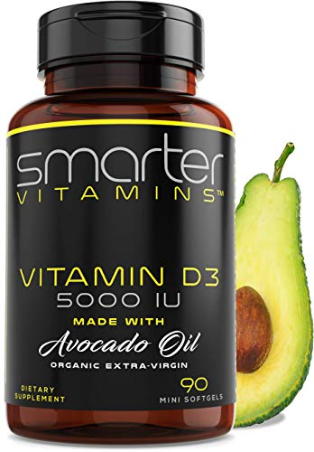 Vitamin D3 5000 IU - USDA Certified Organic Avocado Oil, 90 Mini Softgels, Non-GMO, Soy Free, Gluten Free, Supports Immune Function & Healthy Bones + Teeth