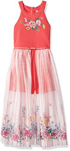 Beautees Girls' Big Maxi Romper, Coral, 7