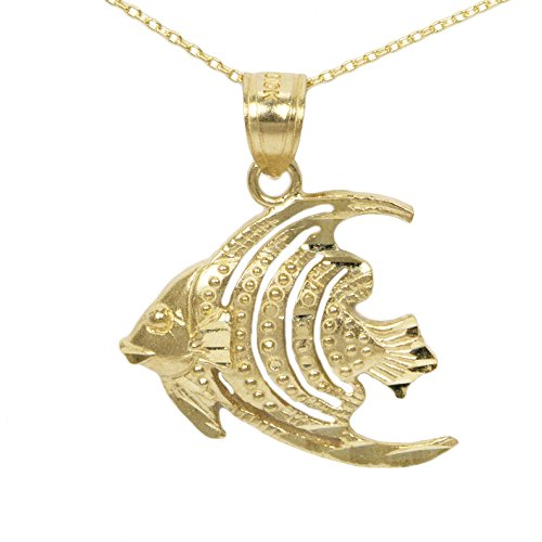 (Ice on Fire Jewelry 10k Yellow Angel Gold Fish Pendant Necklace (18