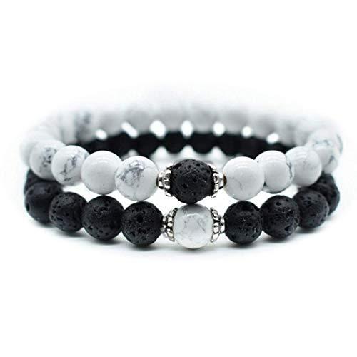 Honora Black Bracelet - 2pc Couples Distance Volcanic Stone Bracelet Natural Stone White and Black Yin Yang Beaded Bracelets for Men Women Bileklik