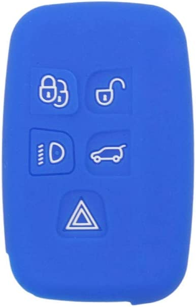BROVACS Silicone Cover Protector Case Skin Jacket fit for LAND ROVER LR4 Range Rover 5 Button Smart Remote Key Fob CV4982 Deep Blue