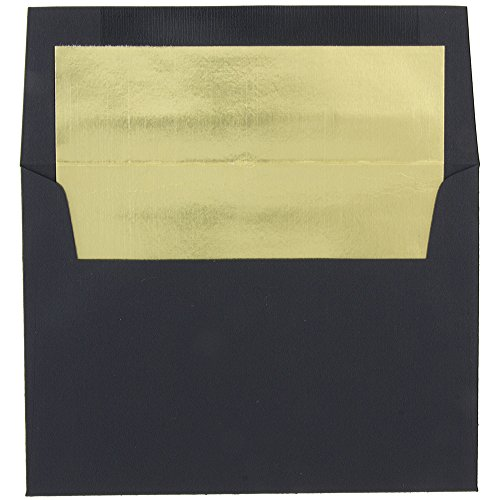 Black Lined Envelope - JAM Paper A7 Foil Lined Invitation Envelopes - 5 1/4