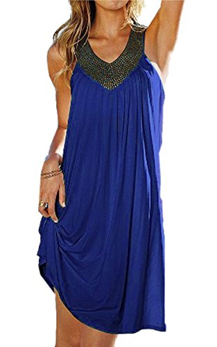 FINEJO Women Rivet V-Neck Sleeveless Loose Backless Boho Long Maxi Beach Dress Dark Blue