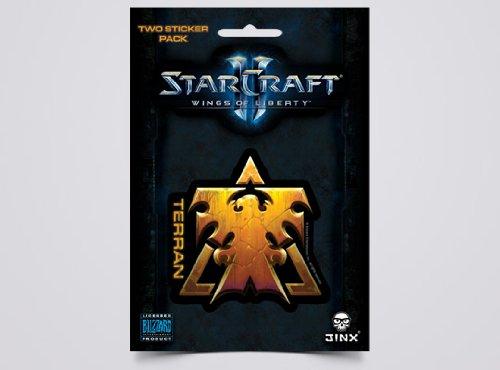 JINX Starcraft II Gold, 2 Multi-Size Stickers Wings of Liberty Terran Sticker