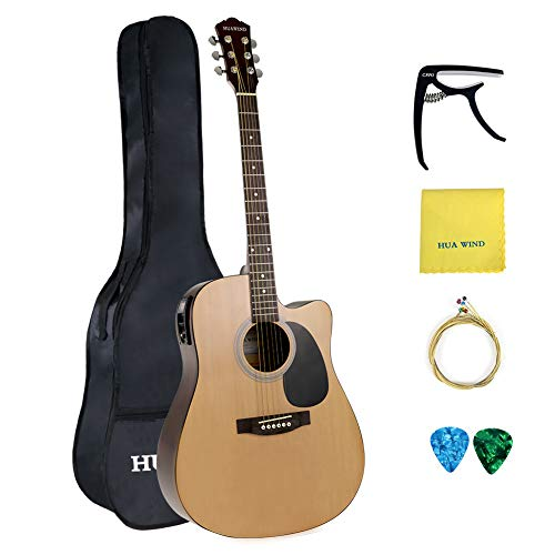 (HUAWIND Acoustic Electric Guitar 41in Full Size Natural Acoustic Cutaway Guitar + 5 Band EQ with Gig Bag, Capo, String, Picks, Polishing Cloth)