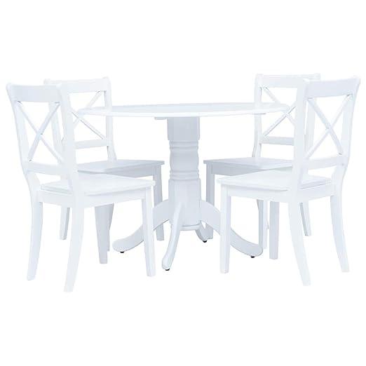 Festnight Conjunto de Comedor Mesa y sillas 5 Piezas Madera Maciza ...