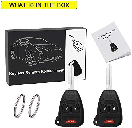 YITAMOTOR 2 Key Fob Replacement Compatible for Dodge Charger Ram Jeep Wrangler Chrysler 3 Button Keyless Entry Remote for OHT692713AA OHT692427AA KOBDT04A