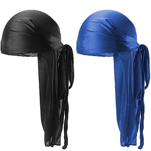 Unisex 2PCS Deluxe Silky Durag Extra Long-Tail Headwraps Pirate Cap 360 Waves Du-RAG (Black+Royal Blue) ()