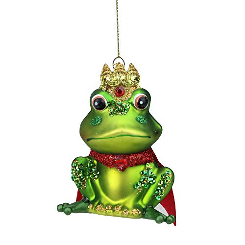 (Northlight Green and Red Glittered King Frog Glass Christmas Ornament, 4.25