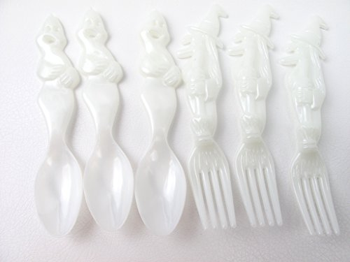24 Pcs Halloween Party Plastic Glow in the Dark Flatware 12 Witch Forks 12 Ghost Spoons ()