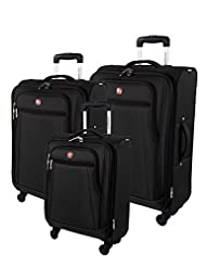 Swiss Gear Cross Country Collection 3 Piece Set, Black, Checked - Extra Large