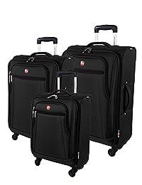 SwissGear Cross Country 3 Piece Spinner Luggage Set, Black