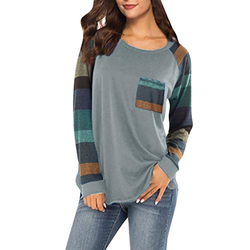 Lmx+3f Casual Women Stripe Sleeve Patchwork Casual Top with Pocket T-Shirt Loose Long Sleeve O-Neck Top ()