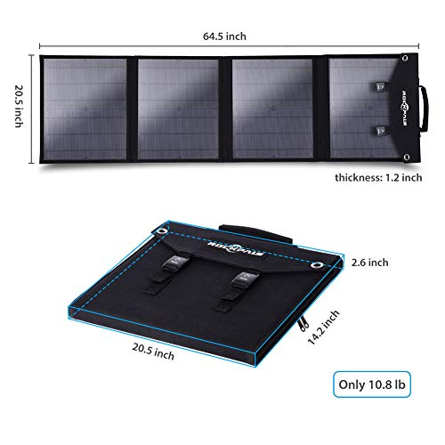 Rockpals SP003 100W Foldable Solar Panel Charger for Suaoki Portable Generator / 8mm Goal Zero Yeti Power Station/Jackery Explorer 240, Webetop Battery Pack/USB Devices, with 3 USB Ports