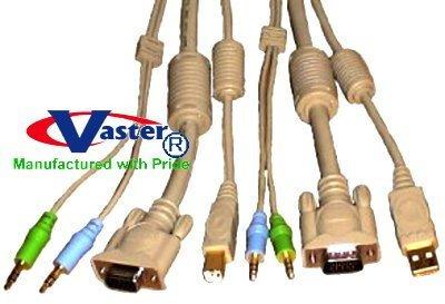 USB KVM CABLE Set, (19064) 6 Ft USB2.0 KVM Cable Set (4 in1) M – F