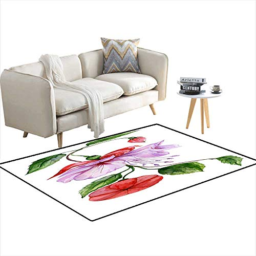 Area Rugs for Bedroom Beautiful reanpurple Fuchsia Flower on a twig wi Green Leaves Isolateon White backgrounWatercolor Painting 3'x12' - Mustang 12' Belt